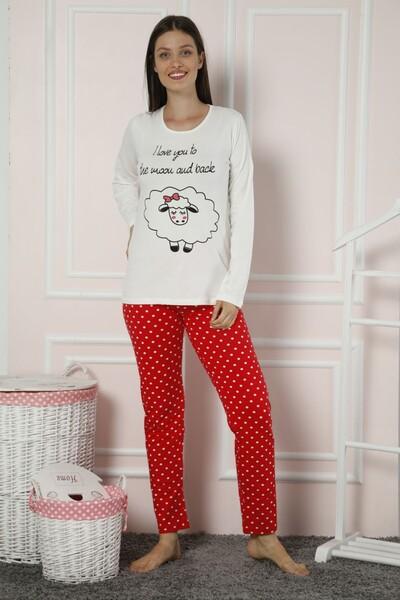Dantelli Pamuklu Likralı Pijama Takım - Thumbnail