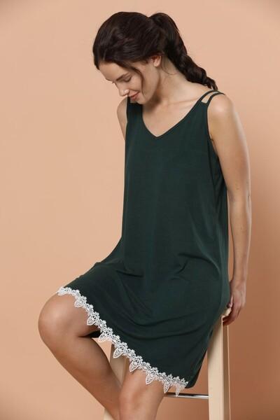 - İp Askılı Dantel Detaylı Viskon Elbise