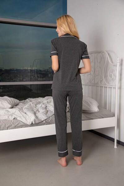 Kısa Kollu Pamuklu Likralı Düğmeli Biyeli Pijama Takım - Thumbnail