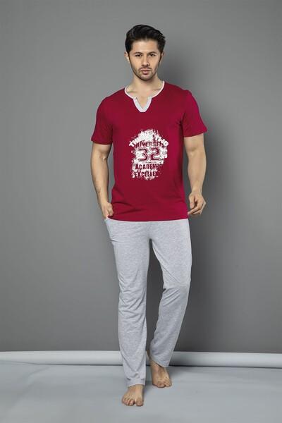- Kısa Kollu Pamuklu Likralı Pijama Takım