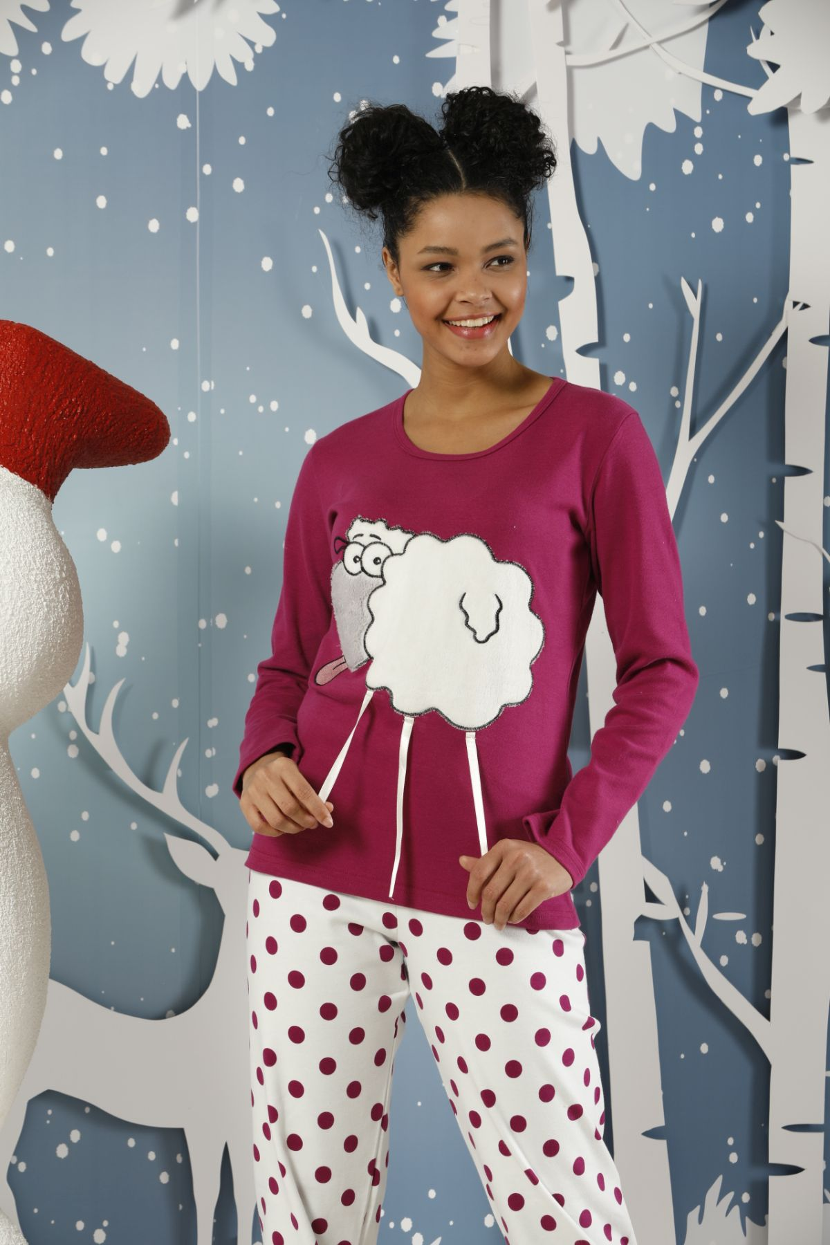 Nakışlı İnterlok Pijama Takımı