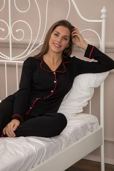 - Pamuklu Likralı Düğmeli Biyeli Pijama Takım