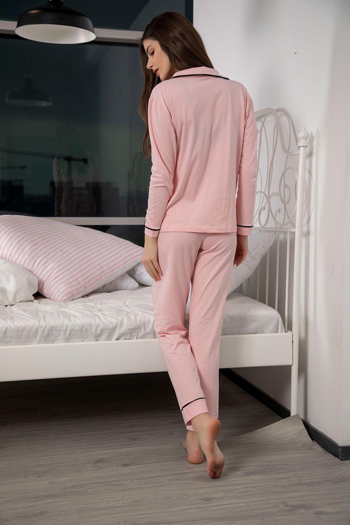Pamuklu Likralı Düğmeli Biyeli Pijama Takım