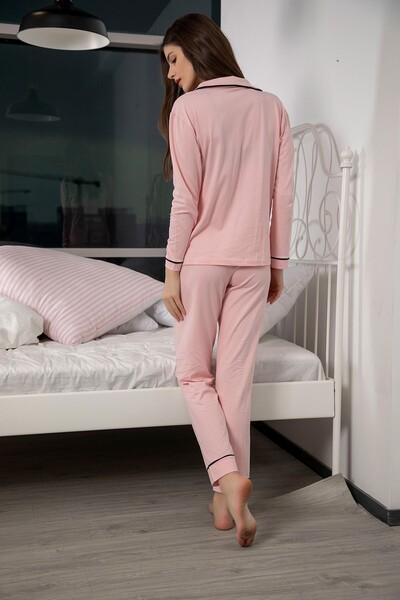 Pamuklu Likralı Düğmeli Biyeli Pijama Takım - Thumbnail