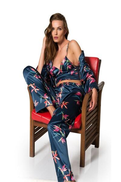SİYAH İNCİ - 3'Lü Saten Sabahlıklı Pijama Takım