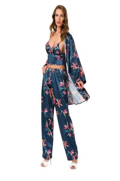 Lü Saten Sabahlıklı Pijama Takım