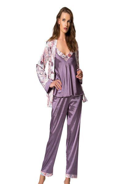 SIYAH INCI - 3'Lü Saten Sabahlıklı Pijama Takım