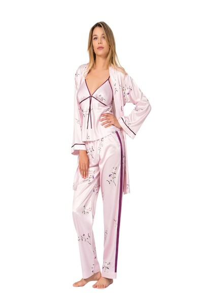 SİYAH İNCİ - Lü Saten Sabahlıklı Pijama Takım