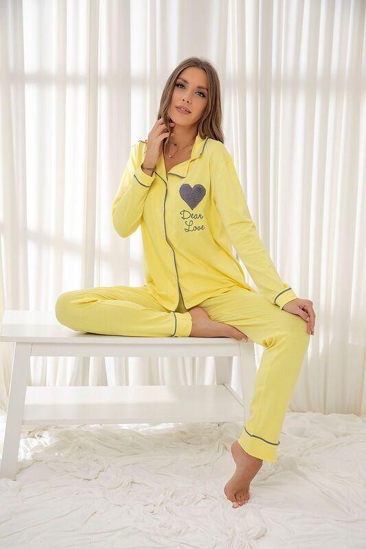 SİYAH İNCİ - Açıksari Pamuklu Likrali Düğmeli Biyeli Pijama Takım