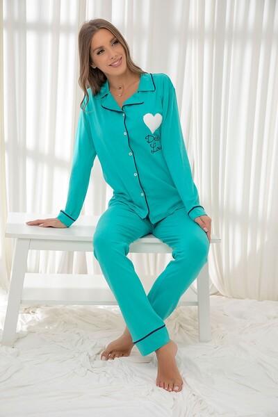 SİYAH İNCİ - Açıkyeşil Pamuklu Likrali Düğmeli Biyeli Pijama Takım