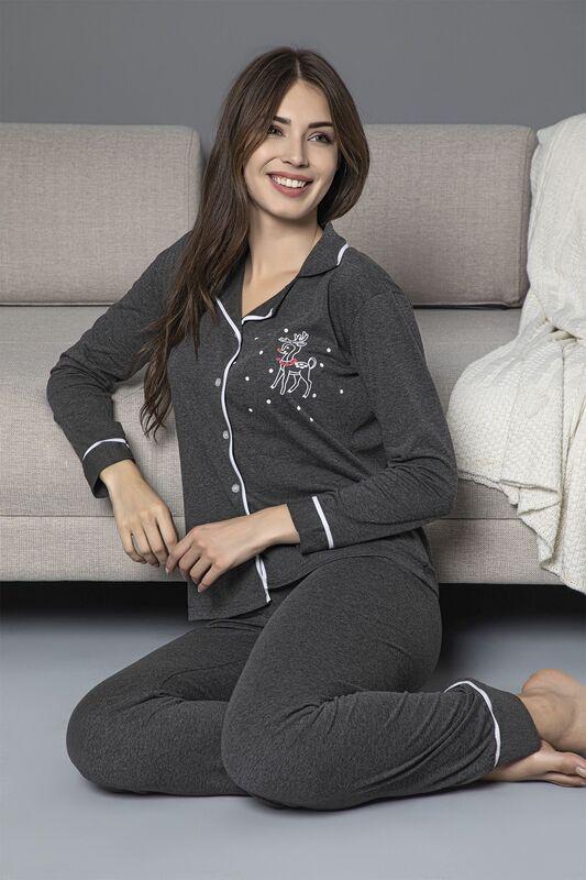 SİYAH İNCİ - Antrasit Pamuklu Likrali Biyeli Düğmeli Pijama Takım