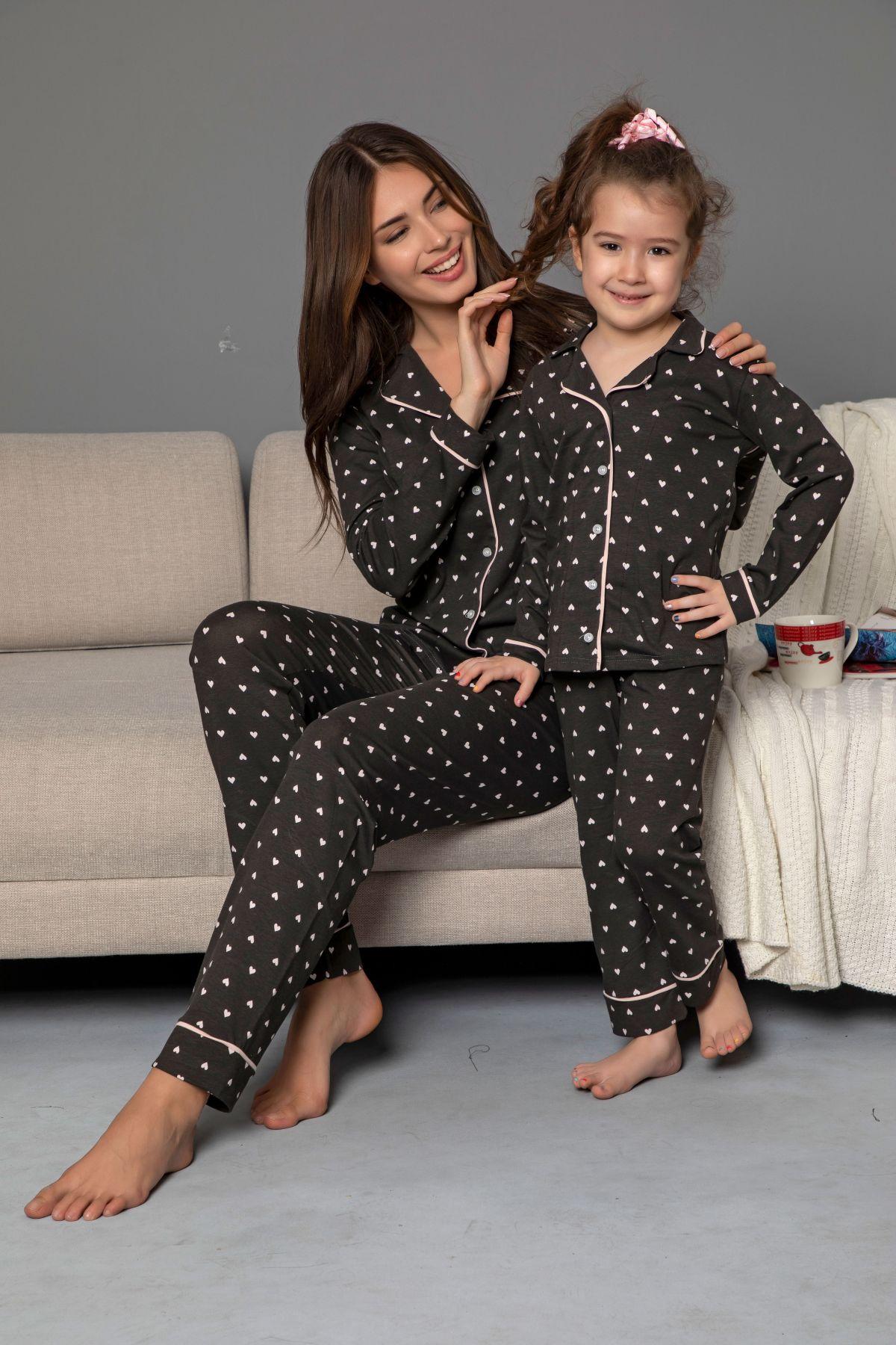Antrasit Pamuklu Likrali Biyeli Düğmeli Pijama Takım