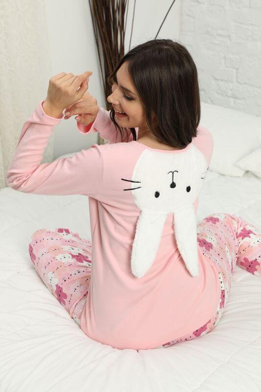 SIYAH INCI - Arkası Nakışlı İnterlok Pijama Takımı