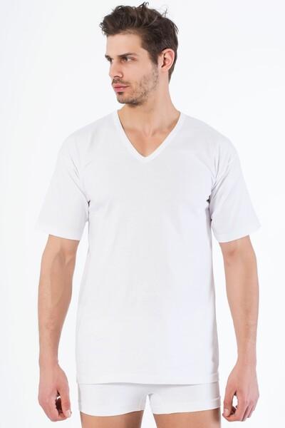 Beyaz Pamuklu V Yaka Kısa Kol T-Shirt - Thumbnail