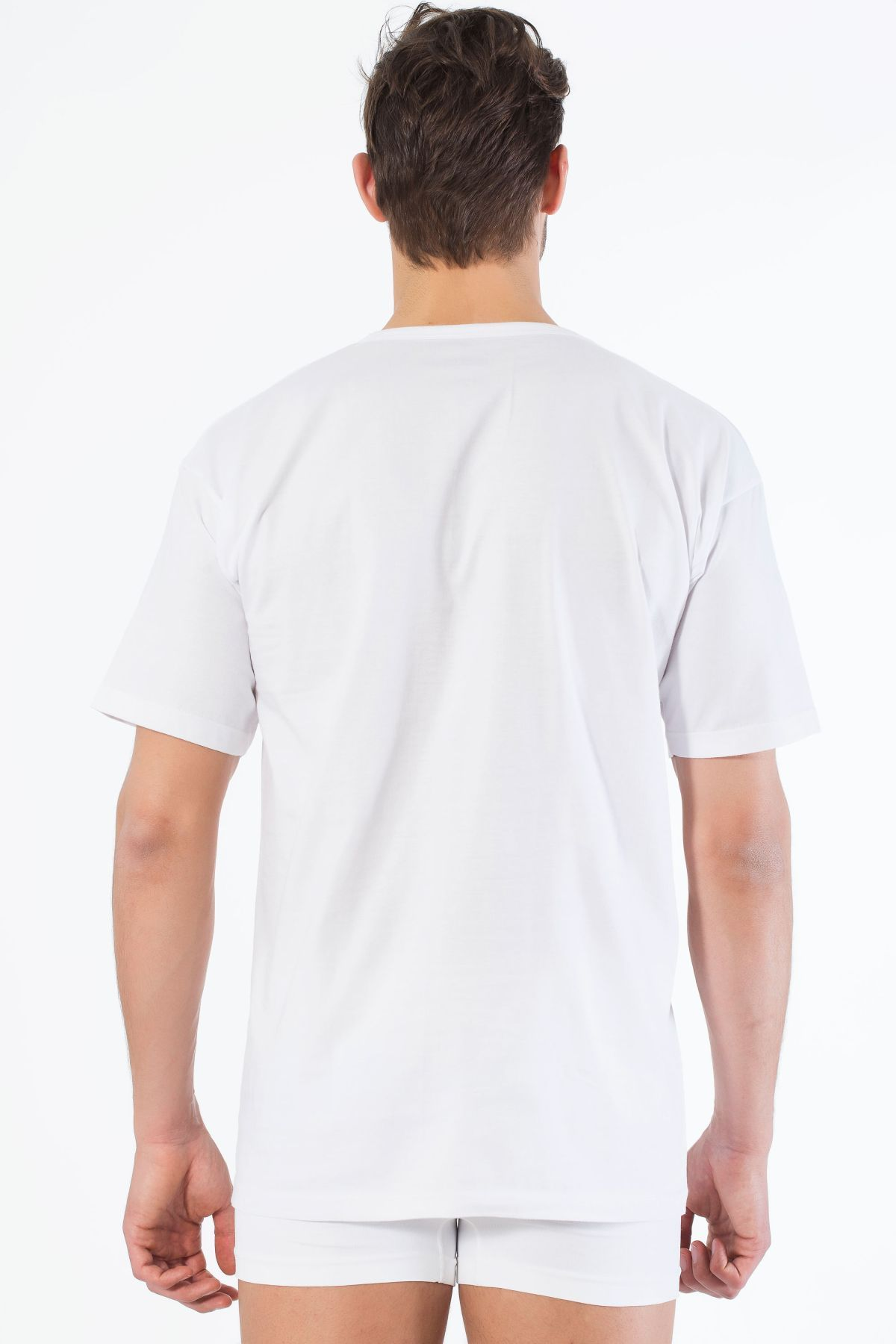 Beyaz Pamuklu V Yaka Kısa Kol T-Shirt