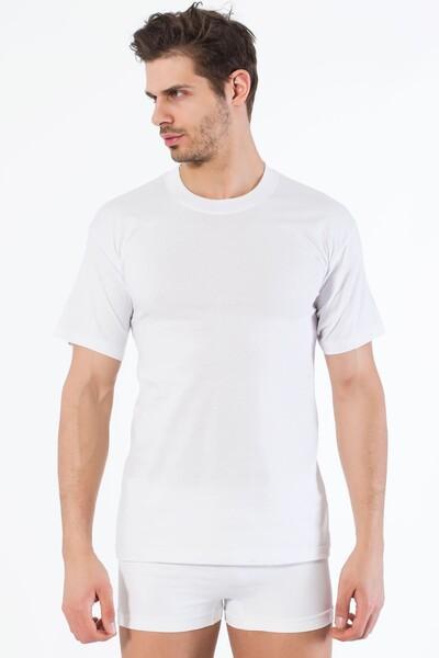 SIYAH İNCİ - Beyaz Pamuklu Yuvarlak Yaka Kısa Kol T-Shirt