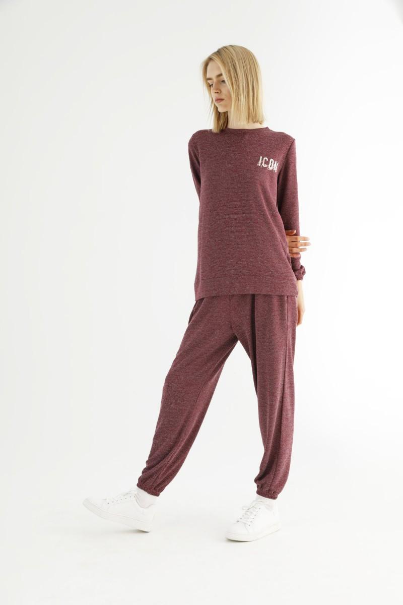SİYAH İNCİ - Bordo Cepli Eşofman-Sweatshirt Takım 21278068