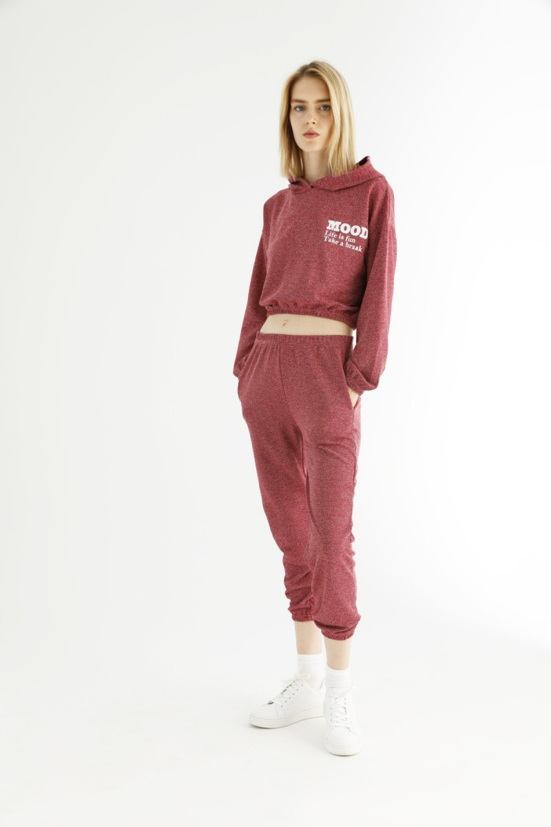 SİYAH İNCİ - Bordo Cepli Kapişonlu Crop Eşofman-Sweatshirt Takım 21278078