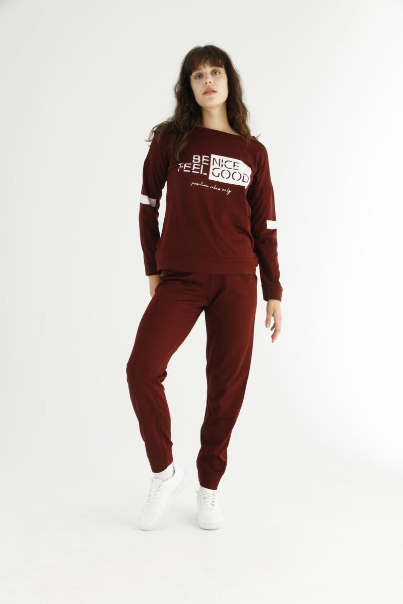 SİYAH İNCİ - Bordo Eşofman-Sweatshirt Takım 21278137