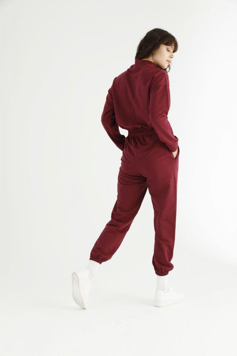 Bordo Fermuarlı Cepli Crop Eşofman-Sweatshirt Takım 21278020