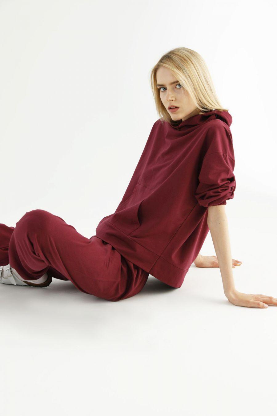 Bordo Kangru Cepli Kapişonlu Eşofman-Sweatshirt Takım 21278024