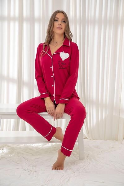 SİYAH İNCİ - Bordo Pamuklu Likrali Biyeli Düğmeli Nakışlı Pijama Takım