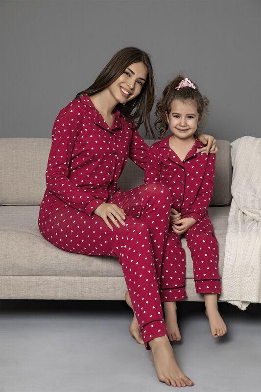 SIYAH İNCİ - Bordo Pamuklu Likrali Biyeli Düğmeli Pijama Takım
