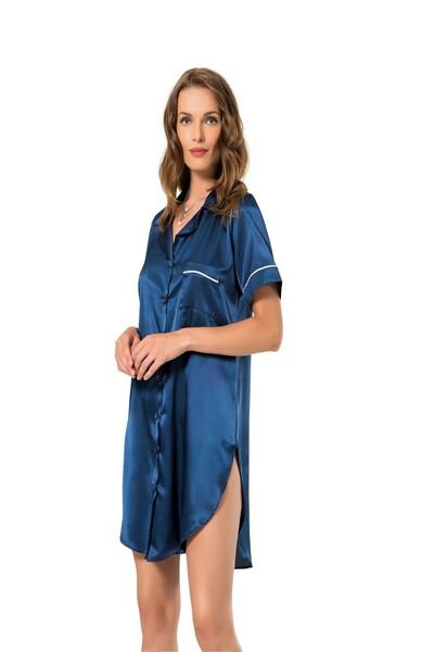 SİYAH İNCİ - Boydan Düğmeli Saten Gömlek Elbise