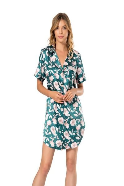 Boydan Düğmeli Saten Gömlek Elbise - Thumbnail