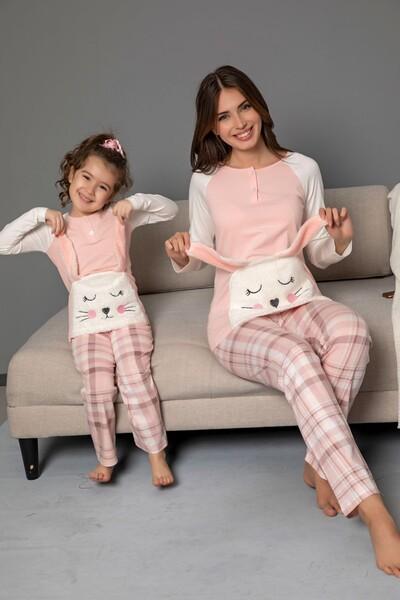 Çocuk Pamuklu Likrali Düğmeli Nakışlı Pijama Takım - Thumbnail