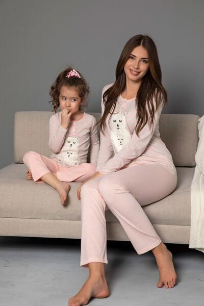 Pamuklu Likrali Düğmeli Nakışlı Pijama Takım - Thumbnail