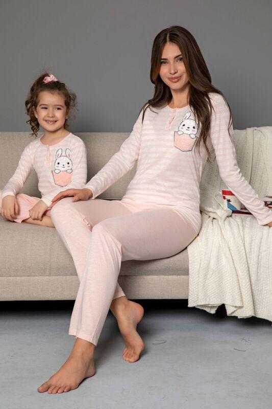 SIYAH İNCİ - Çocuk Pamuklu Likrali Düğmeli Nakışlı Pijama Takım