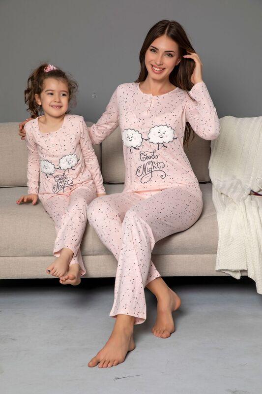 SİYAH İNCİ - Çocuk Pamuklu Likrali Düğmeli Nakışlı Pijama Takım