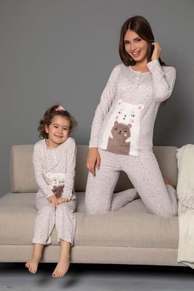 SİYAH İNCİ - Pamuklu Likrali Düğmeli Nakışlı Pijama Takım