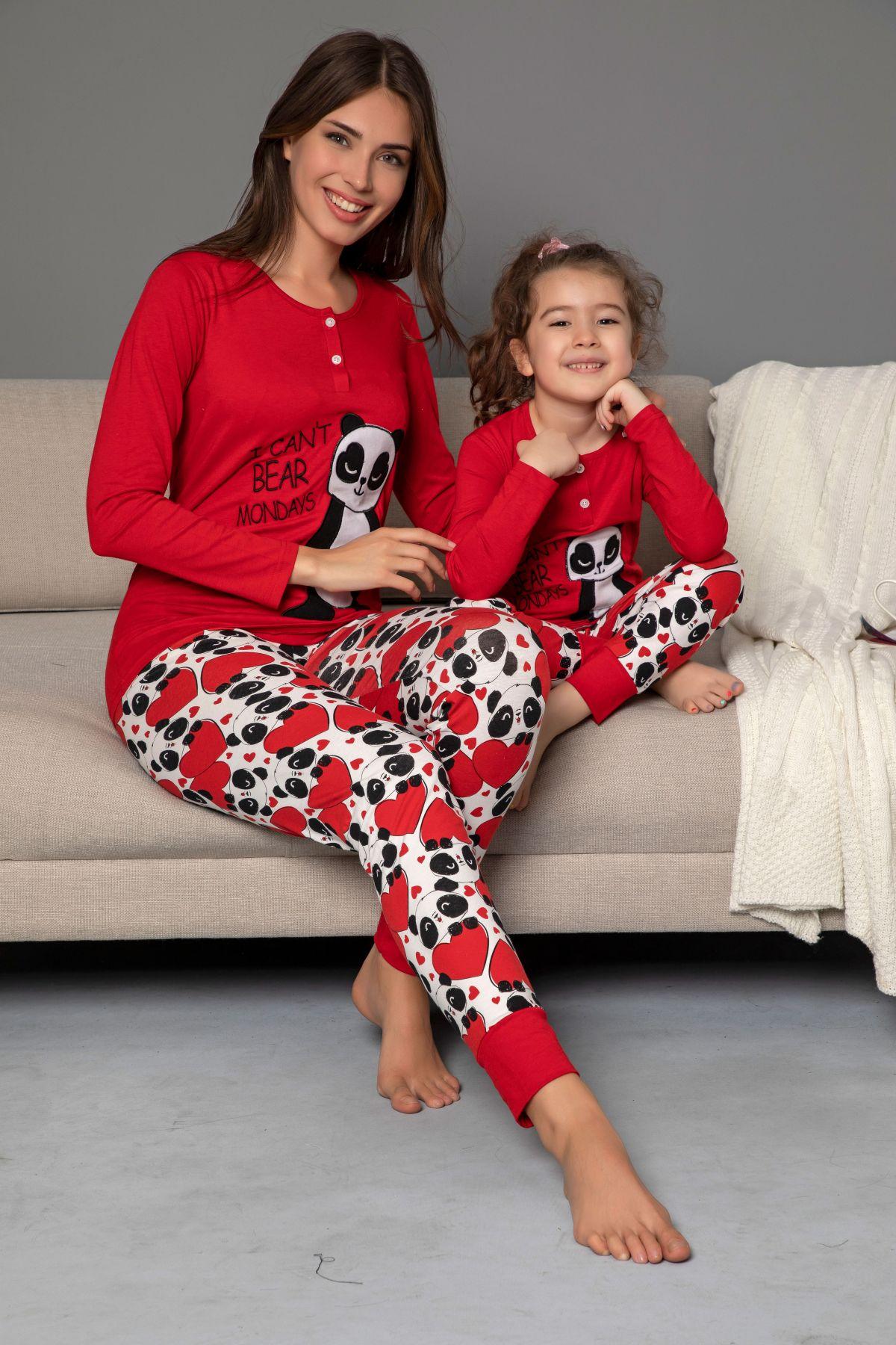 Çocuk Pamuklu Likrali Düğmeli Nakışlı Pijama Takım