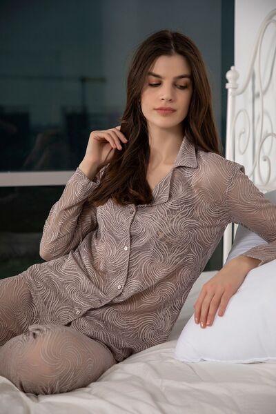 SİYAH İNCİ - Dantelli Düğmeli Pijama Takım