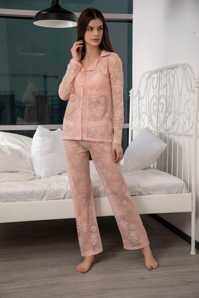 Dantelli Düğmeli Pijama Takım - Thumbnail