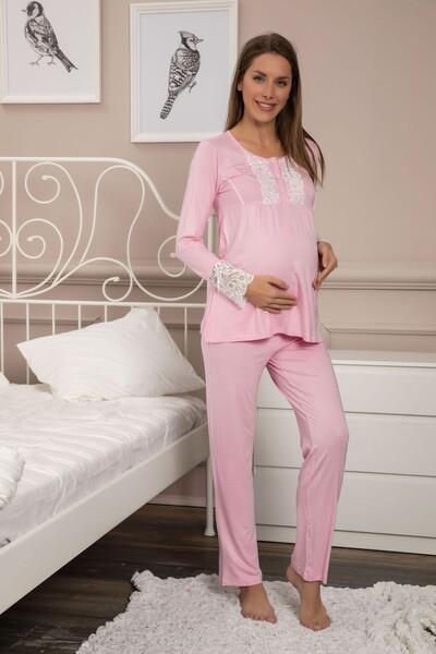 SİYAH İNCİ - Dantelli Düğmeli Viskon Hamile Pijama Takım
