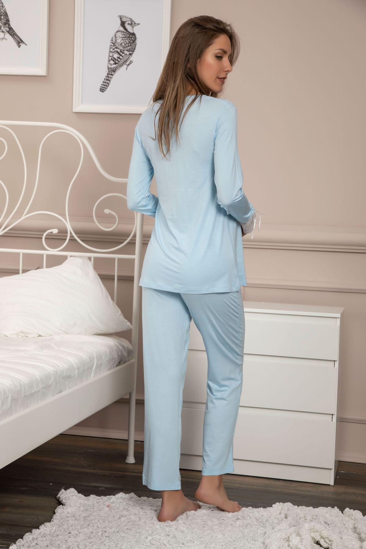 Dantelli Düğmeli Viskon Hamile Pijama Takım