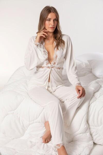 SİYAH İNCİ - Dantelli Pamuklu Pijama Takım