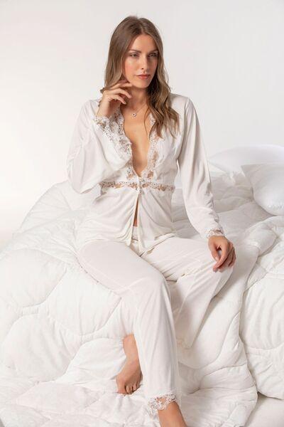 Dantelli Pamuklu Pijama Takım