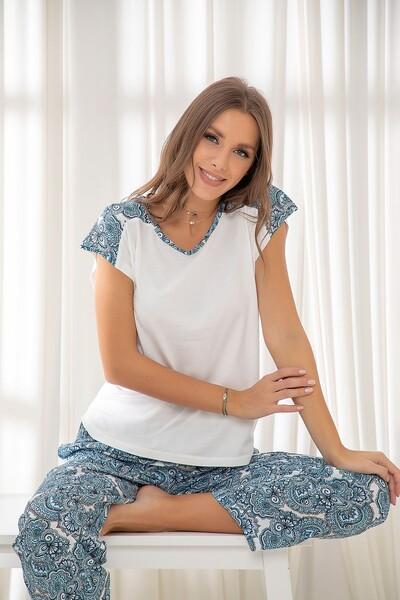 Dokuma Pamuklu Likralı Pijama Takım - Thumbnail