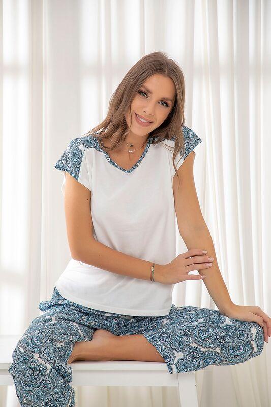 SİYAH İNCİ - Dokuma Pamuklu Likralı Pijama Takım