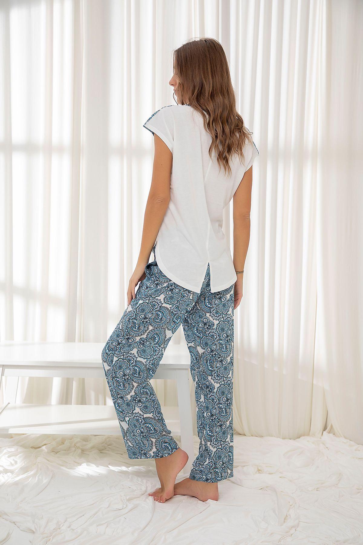 Dokuma Pamuklu Likralı Pijama Takım
