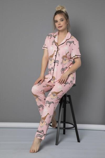 SİYAH İNCİ - Düğmeli Biyeli Kısa Kollu Viskon Pijama Takım