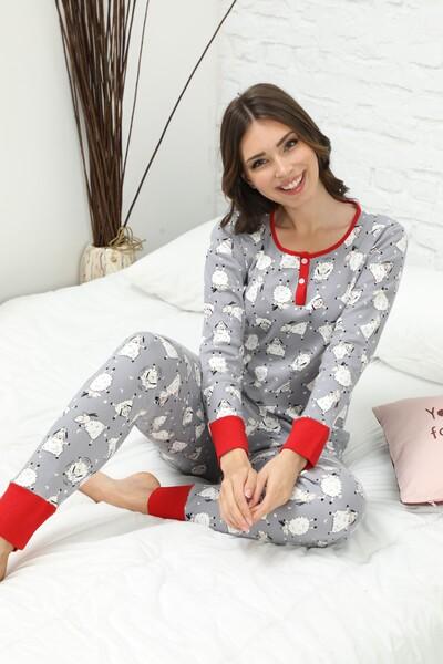 Düğmeli İnterlok Pijama Takımı - Thumbnail