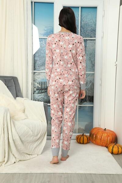 SIYAH İNCİ - Düğmeli İnterlok Pijama Takımı