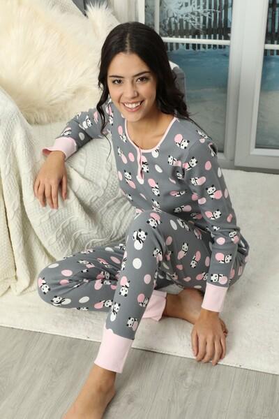 SİYAH İNCİ - Düğmeli İnterlok Pijama Takımı