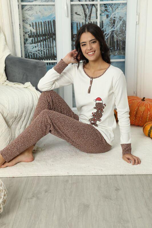 SIYAH INCI - Düğmeli İnterlok Pijama Takımı