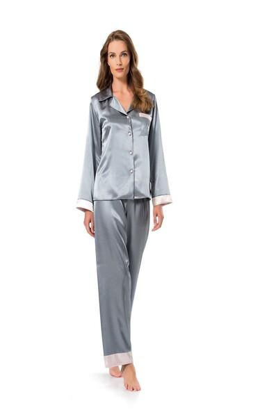 SİYAH İNCİ - Düğmeli Saten Pijama Takım